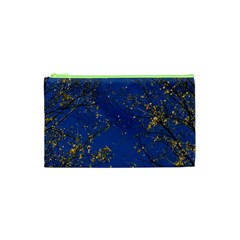 Poplar Foliage Yellow Sky Blue Cosmetic Bag (xs) by Amaryn4rt