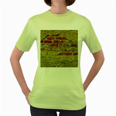 Wall Plaster Background Facade Women s Green T Shirt