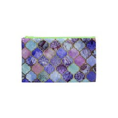 Blue Toned Moroccan Mosaic  Cosmetic Bag (xs) by Brittlevirginclothing