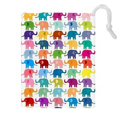 Lovely colorful mini elephant Drawstring Pouches (XXL) by Brittlevirginclothing