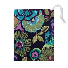 Lila Toned Flowers Drawstring Pouches (extra Large) by Brittlevirginclothing