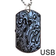 Gray Batik Blue Dog Tag Usb Flash (one Side) by Jojostore