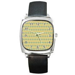 Green Yellow Square Metal Watch by Jojostore