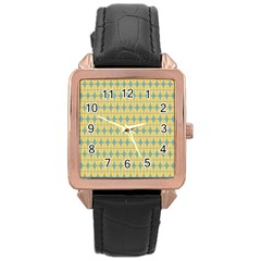 Green Yellow Rose Gold Leather Watch  by Jojostore