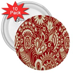 Red Flower White Wallpaper Organic 3  Buttons (10 Pack)  by Jojostore