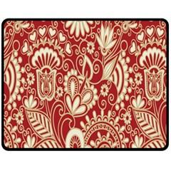 Red Flower White Wallpaper Organic Fleece Blanket (medium)  by Jojostore