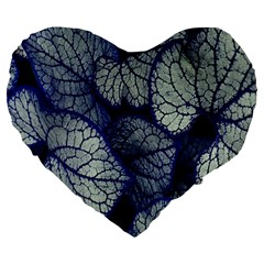 Leaf Purple Large 19  Premium Flano Heart Shape Cushions by Jojostore