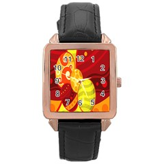 Easter Egg Circle Rose Gold Leather Watch  by Jojostore