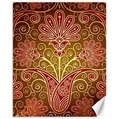 European Fine Batik Flower Brown Canvas 11  X 14   by Jojostore