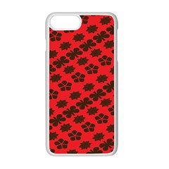 Diogonal Flower Red Apple iPhone 7 Plus White Seamless Case by Jojostore