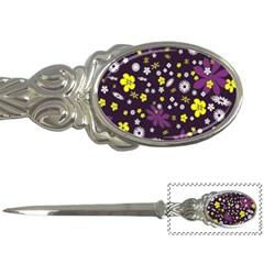Floral Purple Flower Yellow Letter Openers by Jojostore