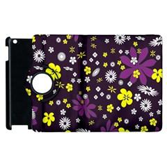Floral Purple Flower Yellow Apple Ipad 3/4 Flip 360 Case by Jojostore