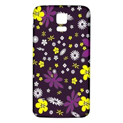 Floral Purple Flower Yellow Samsung Galaxy S5 Back Case (white) by Jojostore
