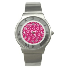Flower Roses Stainless Steel Watch by Jojostore