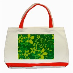 Flower Yellow Green Classic Tote Bag (red) by Jojostore
