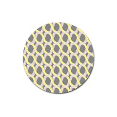 Hearts And Yellow Washi Zigzags Tileable Magnet 3  (round) by Jojostore
