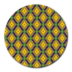 Morocco Flower Yellow Round Mousepads