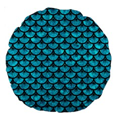 Scales3 Black Marble & Turquoise Marble (r) Large 18  Premium Round Cushion  by trendistuff