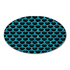 Scales3 Black Marble & Turquoise Marble Magnet (oval) by trendistuff