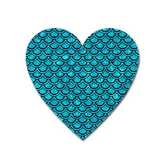 Scales2 Black Marble & Turquoise Marble (r) Magnet (heart) by trendistuff