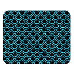 Scales2 Black Marble & Turquoise Marble Double Sided Flano Blanket (large) by trendistuff