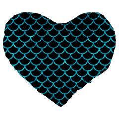Scales1 Black Marble & Turquoise Marble Large 19  Premium Flano Heart Shape Cushion by trendistuff