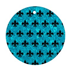Royal1 Black Marble & Turquoise Marble Round Ornament (two Sides) by trendistuff