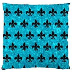 Royal1 Black Marble & Turquoise Marble Large Flano Cushion Case (two Sides) by trendistuff