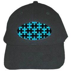 Puzzle1 Black Marble & Turquoise Marble Black Cap by trendistuff