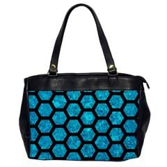 Hexagon2 Black Marble & Turquoise Marble (r) Oversize Office Handbag by trendistuff