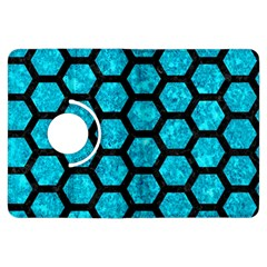 Hexagon2 Black Marble & Turquoise Marble (r) Kindle Fire Hdx Flip 360 Case by trendistuff