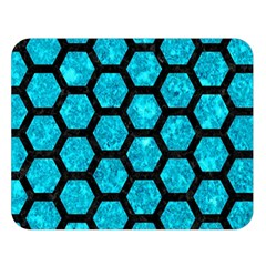 Hexagon2 Black Marble & Turquoise Marble (r) Double Sided Flano Blanket (large) by trendistuff