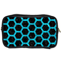 Hexagon2 Black Marble & Turquoise Marble Toiletries Bag (two Sides) by trendistuff