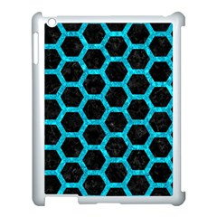 Hexagon2 Black Marble & Turquoise Marble Apple Ipad 3/4 Case (white) by trendistuff
