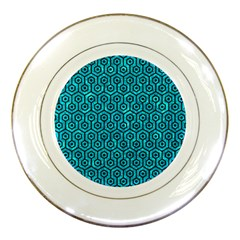 Hexagon1 Black Marble & Turquoise Marble (r) Porcelain Plate by trendistuff