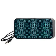 Hexagon1 Black Marble & Turquoise Marble Portable Speaker (black) by trendistuff
