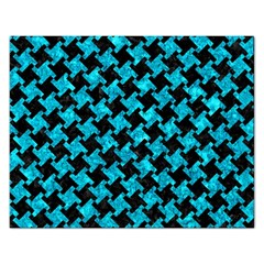 Houndstooth2 Black Marble & Turquoise Marble Jigsaw Puzzle (rectangular) by trendistuff