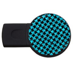 Houndstooth2 Black Marble & Turquoise Marble Usb Flash Drive Round (4 Gb) by trendistuff