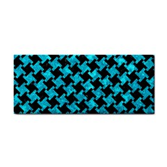 Houndstooth2 Black Marble & Turquoise Marble Hand Towel by trendistuff