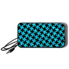 Houndstooth2 Black Marble & Turquoise Marble Portable Speaker (black) by trendistuff