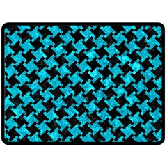Houndstooth2 Black Marble & Turquoise Marble Double Sided Fleece Blanket (large) by trendistuff