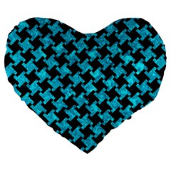 Houndstooth2 Black Marble & Turquoise Marble Large 19  Premium Flano Heart Shape Cushion by trendistuff