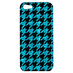 Houndstooth1 Black Marble & Turquoise Marble Apple Iphone 5 Hardshell Case by trendistuff