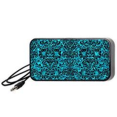 Damask2 Black Marble & Turquoise Marble (r) Portable Speaker (black) by trendistuff