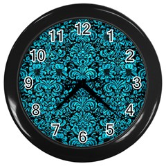 Damask2 Black Marble & Turquoise Marble Wall Clock (black) by trendistuff