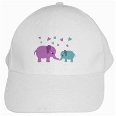 Elephant Love White Cap by Valentinaart
