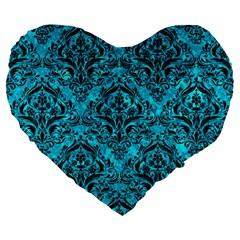 Damask1 Black Marble & Turquoise Marble (r) Large 19  Premium Flano Heart Shape Cushion by trendistuff