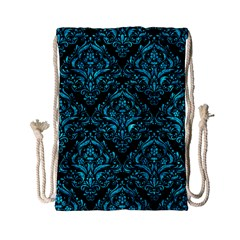 Damask1 Black Marble & Turquoise Marble Drawstring Bag (small) by trendistuff