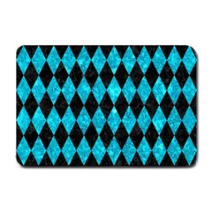 Diamond1 Black Marble & Turquoise Marble Small Doormat by trendistuff