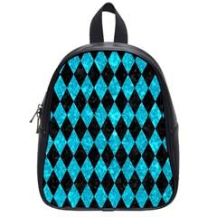 Diamond1 Black Marble & Turquoise Marble School Bag (small) by trendistuff